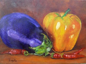 Eggplant and Peppers by Virgilla Lammons