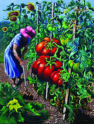Woman Hoeing Tomatoes by JP Powel